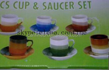 south America chile , peru three color stoneware 220cc 12pcs cup and saucer