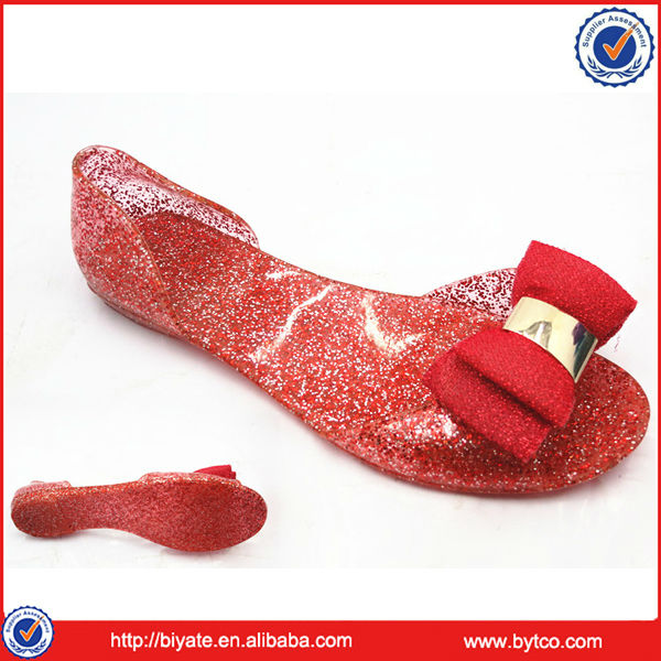 Trendy Flat Glitter Women Jelly PVC Sandals