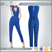 ladies office wear designs sexy deep v neck jumpsuit for mature women