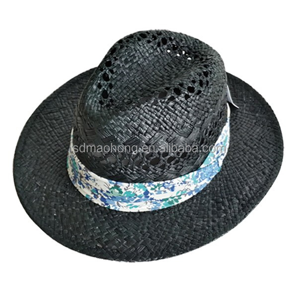 Custome Hats and Caps Men Wholesale Straw Hat Panama Fashion Wide Brim Hat