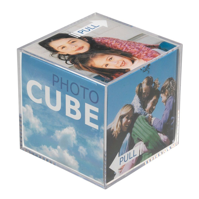 2018 Wholesale Desktop Acrylic Photo Cube or Photo Frame for 6 photos as Decoration Gift