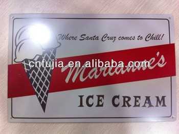 ice cream metal tin sign,embossed plaque