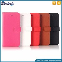 Cheap price Litchi pattern PU leather wallet flip phone case for HTC