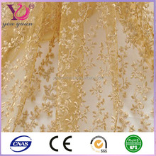 Polyester mesh gold sequin embroidery/gold sequin fabric