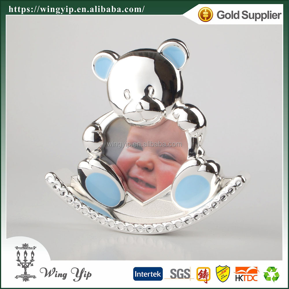 Wholesales Tailor made Blue Color Bear 2R silver Picture Frame