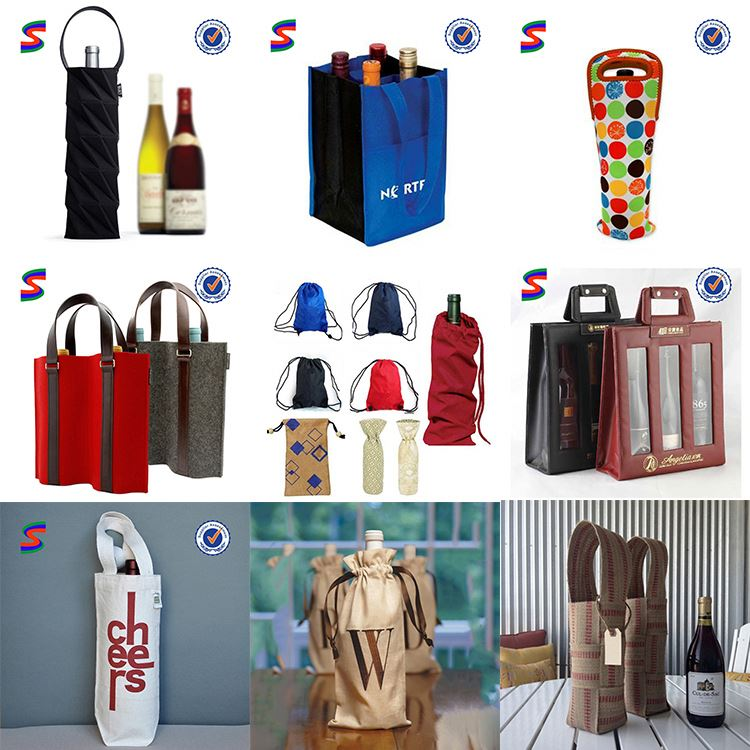 2 Compartments Insulated Wine Cooler Bag Plastic Wine Bottle Bags
