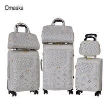 Fashionable new PU leather suitcase with handbag 4 wheels carry on business travel luggage trolley bags set
