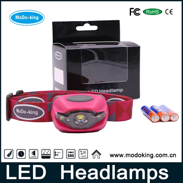 Wholesales stylish camping led headlamp Flashlight with dual light source white and red leds