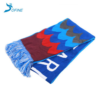 Wholesale winter jacquard knit acrylic and spandex soccer sport fan knitted scarf with tassel fringe