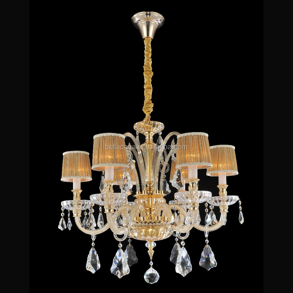 Champinge Gold Glass Chandelier Clear Crystal Lighting with Lamp Shade