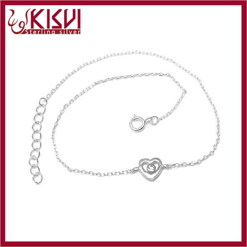 Rhinestone heart for bracelet 925 sterling silver jewelry Hot sale 2015 fashion Anklet