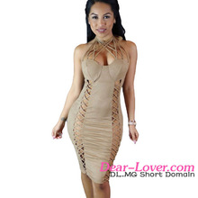 Sassy Nude Suede Caged Design my choice dresses