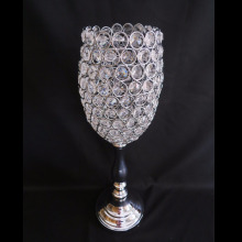 19in Tall Silver Crystal Beaded Votive Canle Stand Metal Candle Holder Wedding Table Centerpieces