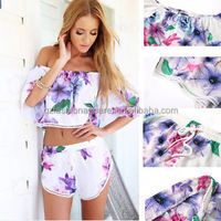 chiffon suits 2 pcs floral playsuit shorts guangzhou fancy ladies suits