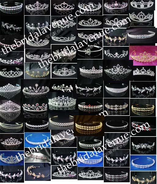 Assorted Bridal Wedding Veil Prom Rhinestone Crystal Tiara Headband