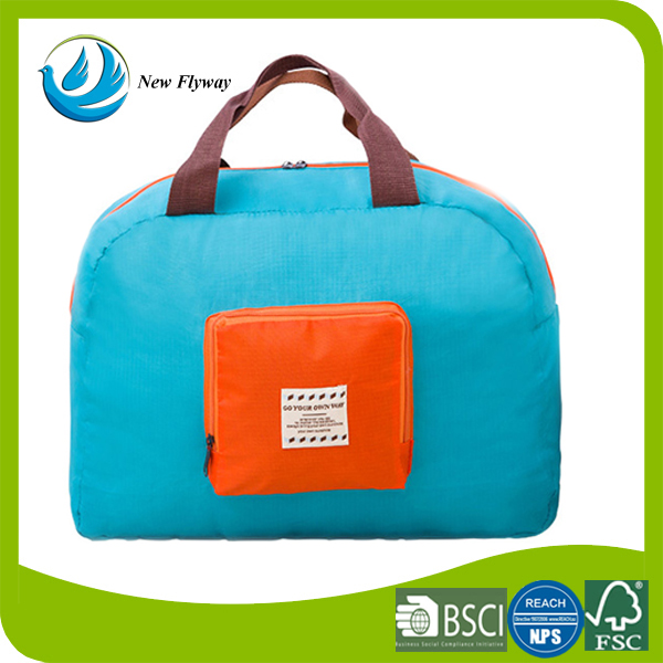 waterproof nylon fabric foldable storage travel bag with handle