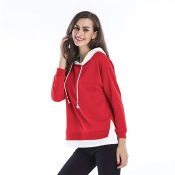 Comfortable Solid Cotton Hooded Long Sleeves Plus Size Women Hoodies