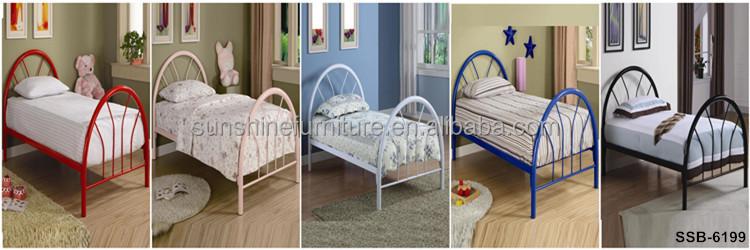 Cheap white green yellow black wood slat twin size kids for Cheap white twin bed
