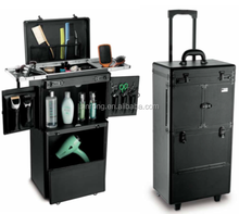 Salon tool case with leather,aluminum tool trolley case