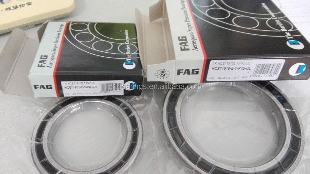 FAG high precision angular contact ball bearing with ceramic balls HCS71916-E-T-P4S-UL spindle bearing