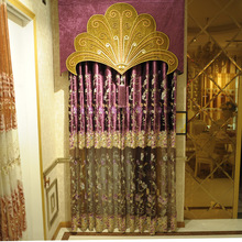 purple velvet curtain, floral embroidery pattern with patchwork tulle, elegant embroidered living room curtain fabric R118-5