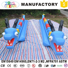 Giant Blue Inflatable Water Park Games Flying Banana Dragon Boat