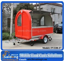 Bright Red Color Stainless Steel Food Truck for Hot Dog Sale in China