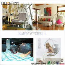 Large transparent indoor acrylic hanging bubble chair / ceiling swing chair