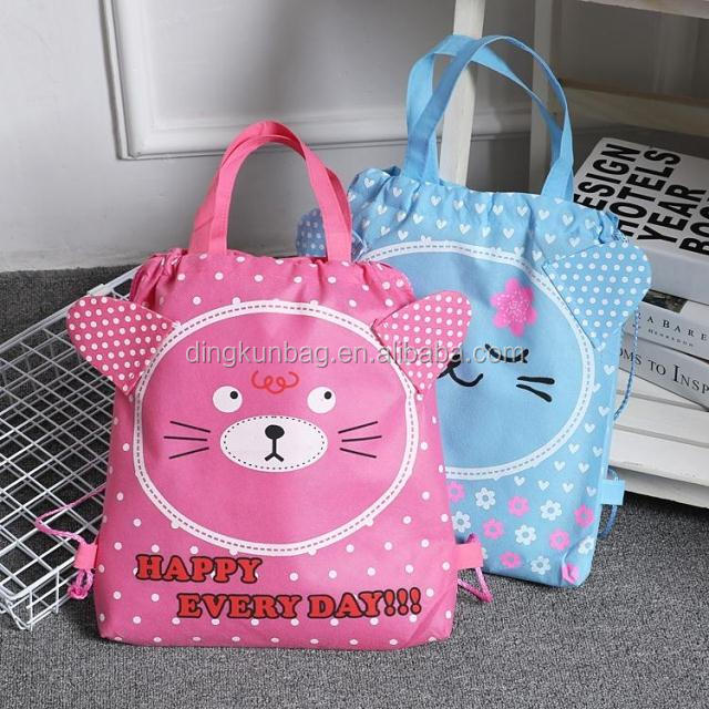 latest design polyester bag, customized design, rope closing used for shopping