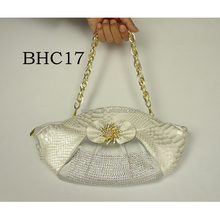 BHC17 Queency 2017 HOT Genuine PU Leather Italian Women Shoulder bags for Nigeria African Party in White
