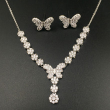 Echsio Spring Butterfly Gold Bridal Wedding Jewelry Set Round Elegant Cubic Zirconia Necklace Earrings Set For Women CN369