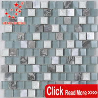 Wholesale waterproof mixed color metal & glass mosaic living rooms interior wall tile design