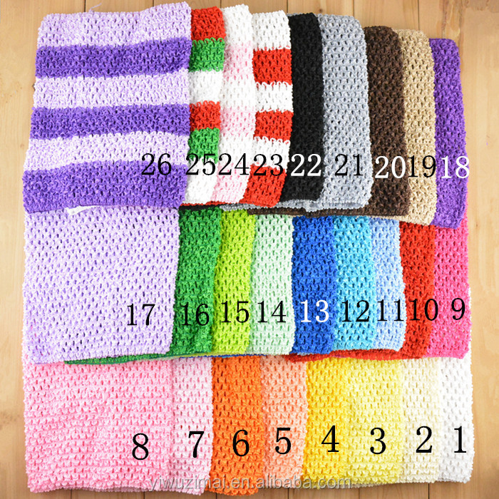 High Quality 9 inches Baby TUTU Crochet Wrapped Chest Elastic Plain Headband For Baby Tops