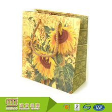 Oem Production Recyclable Shopping Wholesale Sunflower Printed Paper Boutique Bag With Handle