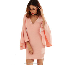 Pink V Neck Elegant Short Women Party Dress Sexy Clothes Women Ladies One Piece Dress