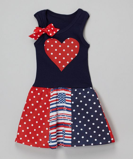 Wholesale shape of heart applique polka dot splicing 4th of July tank dress
