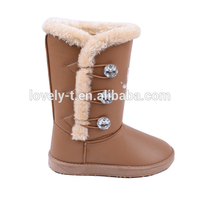 new style woman warm color button triplet half snow winter boots