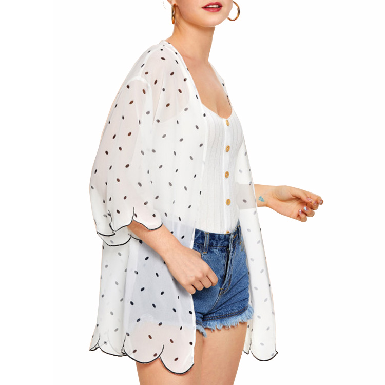 New Arrival Polka Dot 3/4 Sleeves Summer New Style Latest Design Women Cardigan