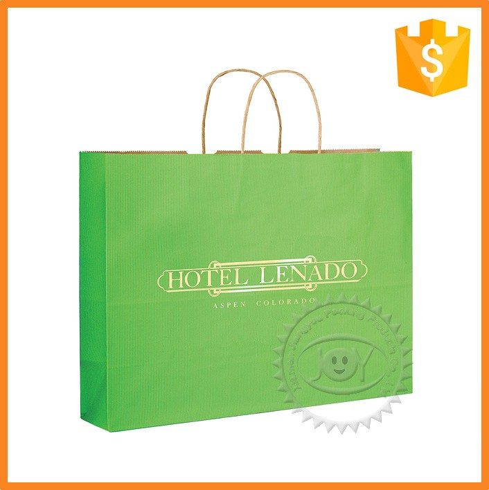 Light green printed green paper bag for hand shopping bags