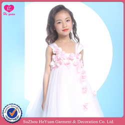 H16102 Pinky Flower Girl Pink Dress with hand sew 3D Carmllia Flowers Shoulder Straps Charming 2016