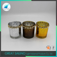Factory Price Small Cup Mercury Glass Candle Holder
