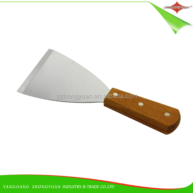 ZY-F1516 Wooden <strong>handle</strong> stainless steel Scraper putty knife Steak Shovel