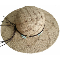 Large brim100% hand knitted Raffia straw cowboy hat for women