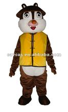 Squirrel with yellow jacket mascot costume