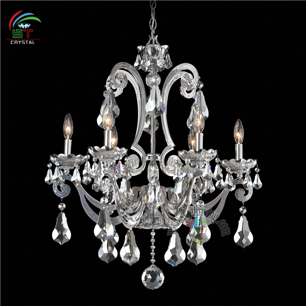 silver schonbek crystal chandelier 6 lights