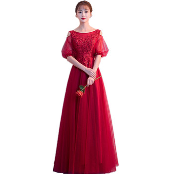 HQ165 Little Sexy Open Shoulder Women Gowns Design Frocks See through Sleeves O-neck Formal Red Evening Party Dress 2019