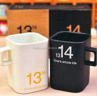 1314 square ceramic love couple coffee mug with square handle for Valentine's Day