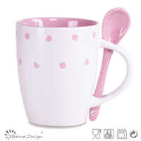 2013 polka dots design 11oz coffee cup mug with spoon