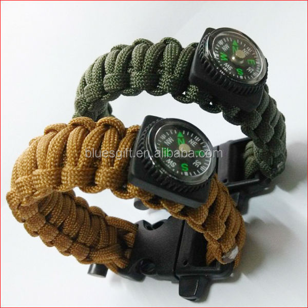 2014 fashion paracord survival bracelet with compass