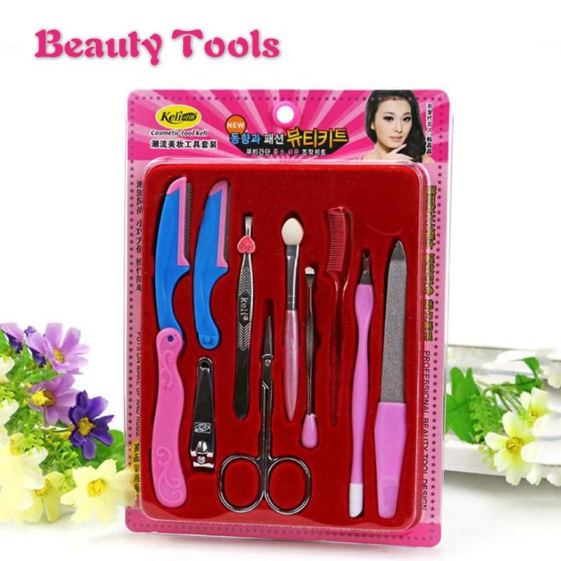 10Pcs Eyebrow Nail Art Set Manicure Tool Kit Nail File Buffer Toe Finger Cuticle Fork Pusher Nipper Tweezers Beauty Nail Tool Z3
